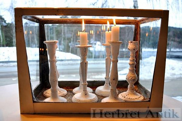 261 gjutjärnsljusstake (vit) Nytillverkade