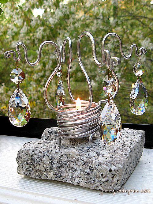 Handgjord ljusstake med prismor