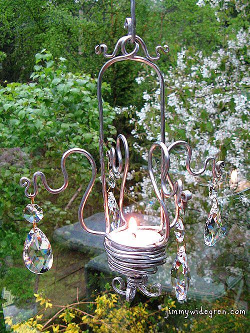 Handgjord ljusstake med kristaller