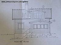 fasad med veranda och burspråk