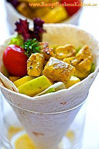 Vegetarisk Wrap med curry och apple